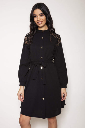 Pala D'oro Dresses Black / S/M / Knee length Button Shirt Dress in Black