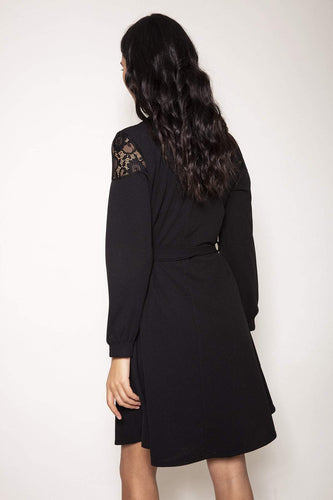 Pala D'oro Dresses Button Shirt Dress in Black
