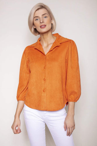 Pala D'oro Tops Orange / S/M / 3/4 Sleeve Button Up Suedette Shirt in Orange