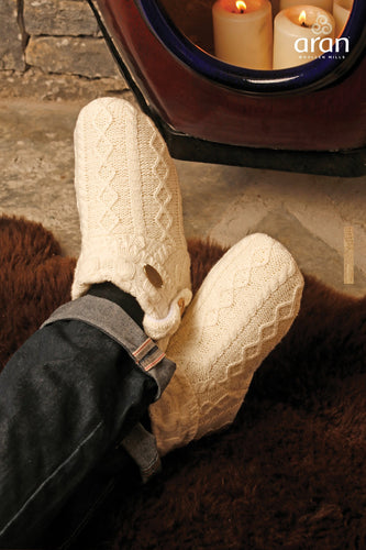Aran Woollen Mills Slippers Cream / S Cable Knit Boot Slippers