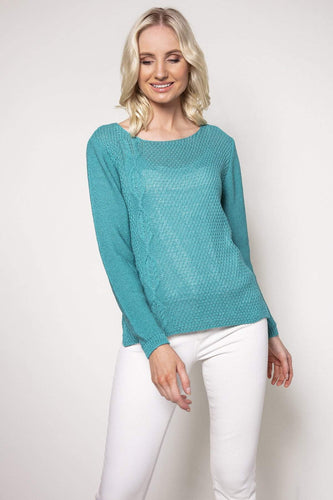 Pala D'oro Jumpers Blue / S/M Cable Knit in Tiffany