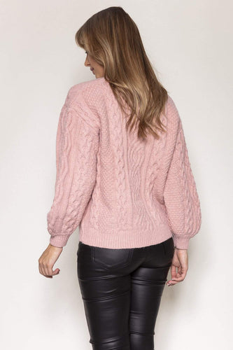 Nova of London Jumpers Cable Knit Jumper in Rose