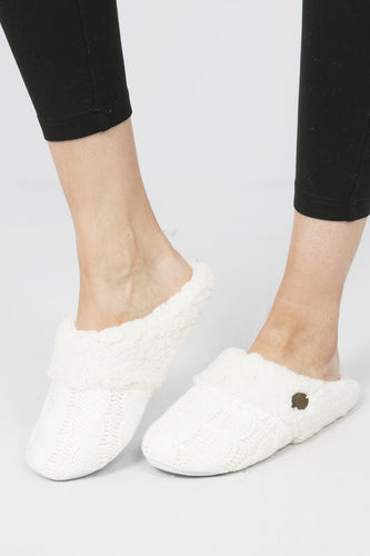 Aran Woollen Mills Slippers Cream / S Cable Knit Slippers