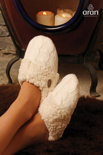 Aran Woollen Mills Slippers Cable Knit Slippers