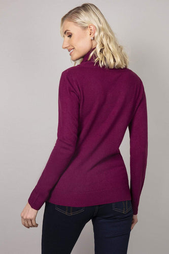Rowen Avenue Jumpers Cashmilon Roll Neck Jumper in Purple