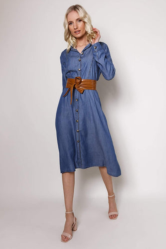Kelly & Grace Weekend Dresses Chambray Shirt Dress in Denim