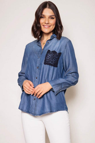 Kelly & Grace Weekend Shirts Denim / S / Long Sleeve Chambray Shirt in Denim
