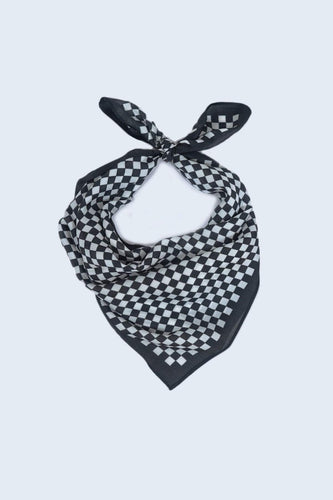 SOUL Accessories Scarves Black Check Print Neckerchief in Black