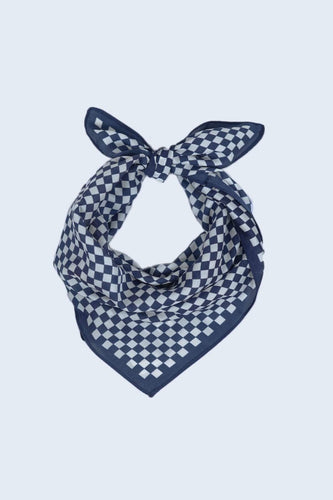 SOUL Accessories Scarves Navy Check Print Neckerchief in Navy