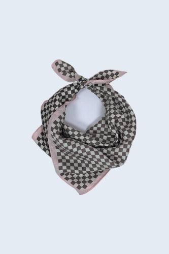 SOUL Accessories Scarves Pink Check Print Neckerchief in Pink