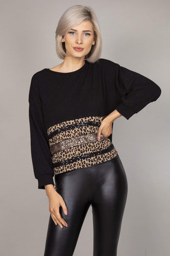 Pala D'oro Jumpers Black / S/M Cheetah Sequin Jumper in Black