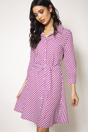 Rowen Avenue Dresses Pink / 6 / Mini Chevron Shirt Dress in Purple