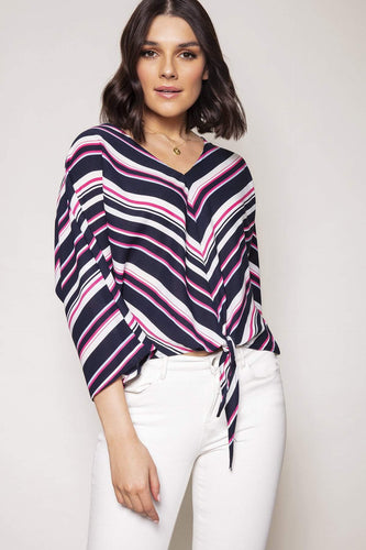 Nova of London Tops Pink / 8 / 3/4 Sleeve Chevron Tie Front Top in Pink