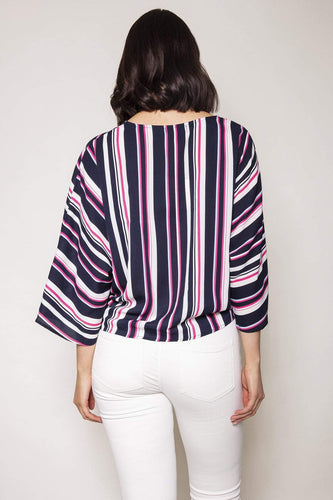 Nova of London Tops Chevron Tie Front Top in Pink