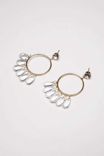 Joularie Earrings Gold Circle Gold Drop Earrings