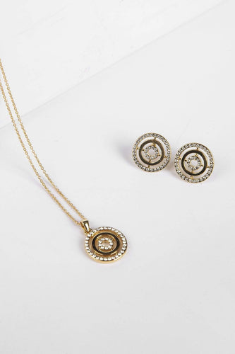 Joularie Necklaces Gold Circle Pendant with Clear Stones