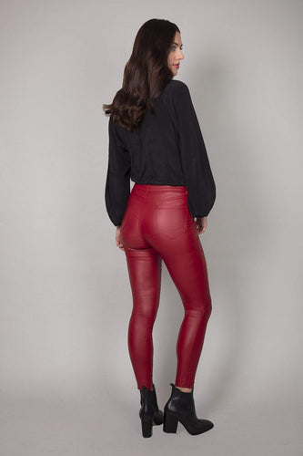 Rowen Avenue Trousers Coated Skinny Jeans in Red