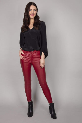Rowen Avenue Trousers Red / XS Coated Skinny Jeans in Red
