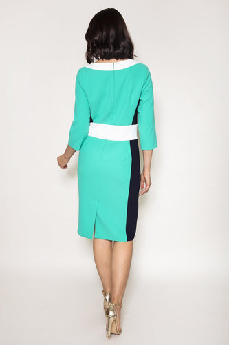Daisy May Dresses Colour Block Pencil Dress in Green
