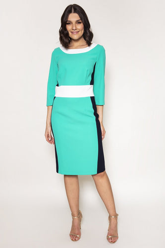 Daisy May Dresses Green / 10 / Midi Colour Block Pencil Dress in Green