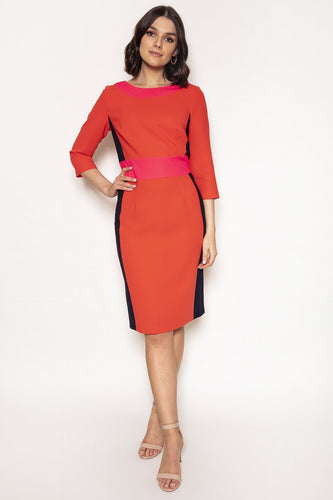 Daisy May Dresses Red / 10 / Midi Colour Block Pencil Dress in Red