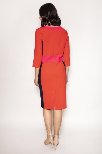Daisy May Dresses Colour Block Pencil Dress in Red