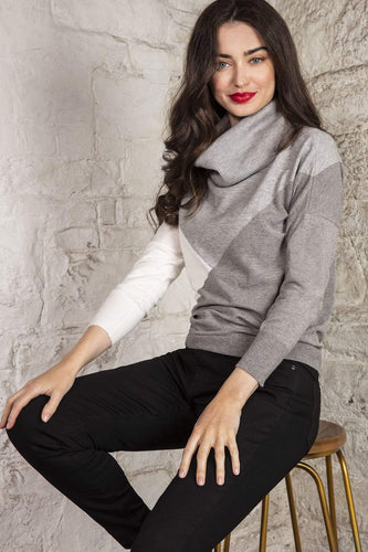 Rowen Avenue Jumpers Grey / S Colour Block Roll Neck Jumper in Grey
