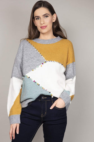 Nova of London Jumpers Multi / S/M Colour Block Sequin Jumper