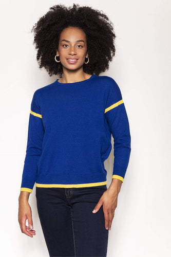 Kelly & Grace Weekend Jumpers Blue / S Contrast Rib Knit in Cobalt