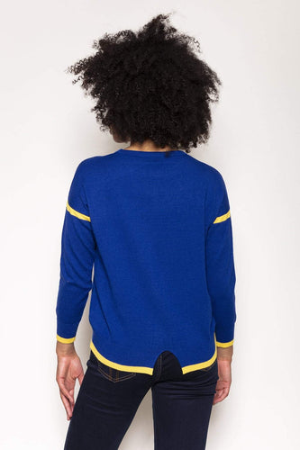 Kelly & Grace Weekend Jumpers Contrast Rib Knit in Cobalt