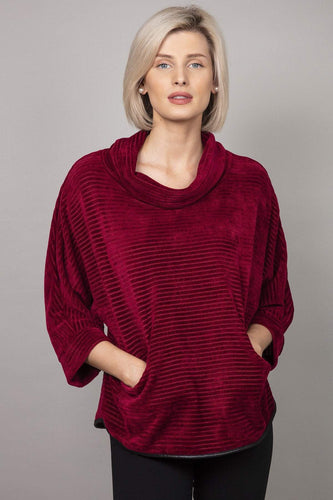 Pala D'oro Jumpers Burgundy / S/M Cowl Neck Jumper in Burgundy