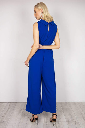 Pala D'oro Jumpsuits Cowl Neck Jumpsuit in Royal Blue