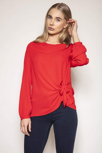 Peruzzi Blouses Red / 10 / Long Sleeve Cowl Neck Top in Red