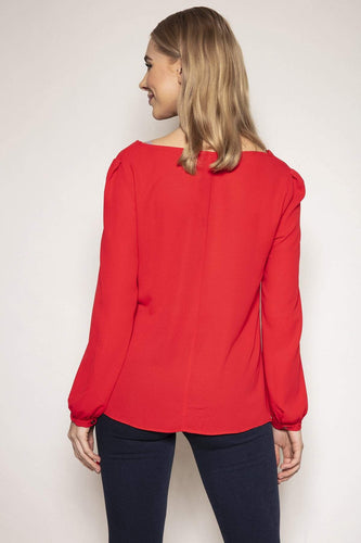 Peruzzi Blouses Cowl Neck Top in Red