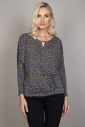 J'aime la Vie Tops Navy / 10 Crossover Top in Navy Print