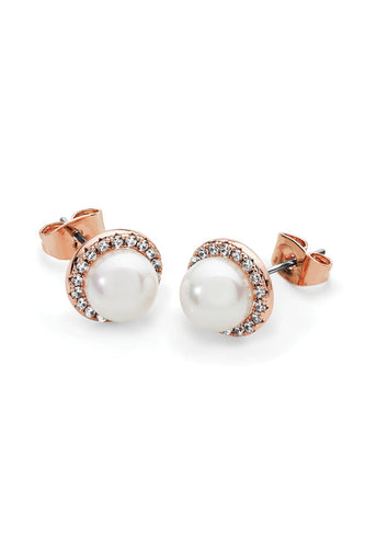 Tipperary Crystal Jewellery Earrings Cubic Zirconia Circle With Pearl Earrings