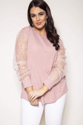 Nova of London Tops Pink / 18/20 Curve - Bar Back Balloon Sleeve Top in Pink