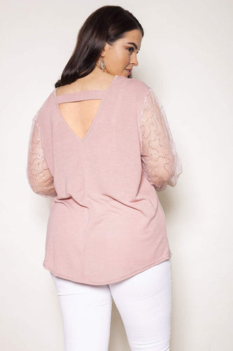 Nova of London Tops Curve - Bar Back Balloon Sleeve Top in Pink