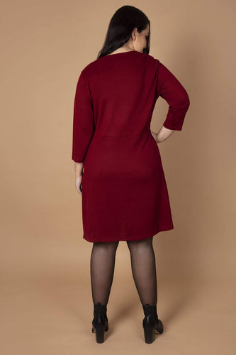 Nova of London Dresses Curve - Button Wrap Dress in Burgundy
