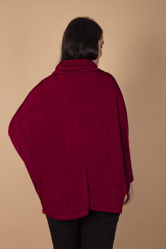Nova of London Blouses Curve - Cowl Neck Batwing Tunic in Wine