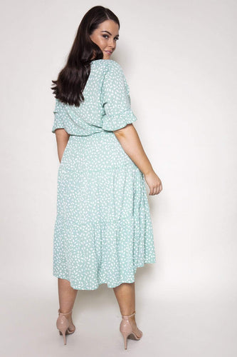 Nova of London Dresses Curve - Drawstring Tiered Dress in Mint