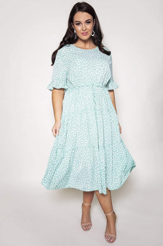 Nova of London Dresses Green / 18 / Midi Curve - Drawstring Tiered Dress in Mint