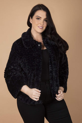 Mela London Jackets Black / 18 Curve - Faux Fur Collar Jacket in Black