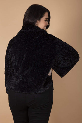 Mela London Jackets Curve - Faux Fur Collar Jacket in Black