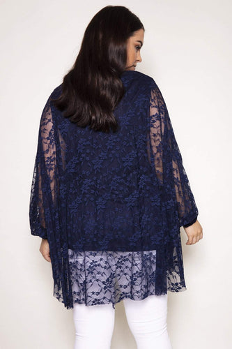 Mela London Tops Curve - Floral Lace Tunic Top in Navy