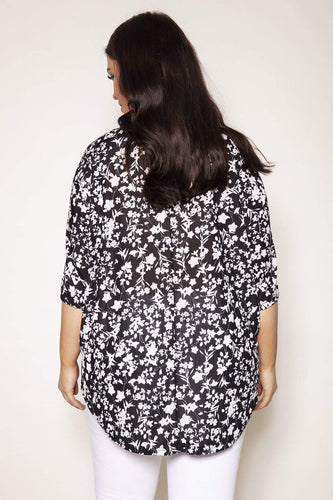 Nova of London Tops Curve -  Floral Print Zip Front Top in Black