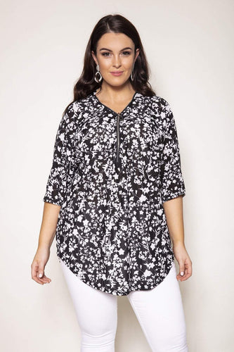 Nova of London Tops Black / 18-20 Curve -  Floral Print Zip Front Top in Black