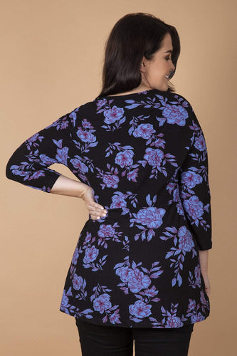 Nova of London Tops Curve - Floral Soft Touch Wrap Top in Blue