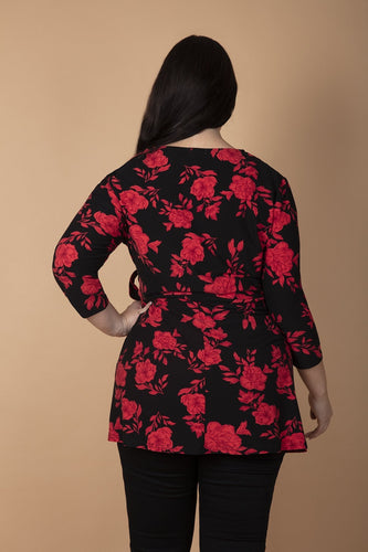 Nova of London Tops Curve - Floral Soft Touch Wrap Top in Red