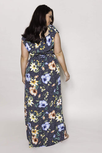 Mela London Dresses Curve - Flower Bardot Maxi Dress in Navy